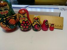 """Russian Mini Nesting Dolls - 5 Piece Set, Hand Painted3.25 down to .75"""""""