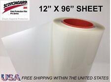"Paint Protection Film Clear Bra 3M Scotchgard Pro Series 12"" x 96"" Sheet"