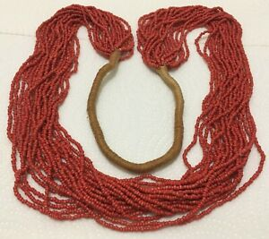 """Vintage Santo Domingo? 20 Strand Wrap Style Coral Seed Bead 18"""" Necklace"""