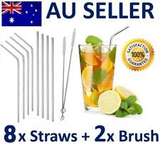 8x Stainless Steel Metal Drinking Straw Straws Bent Reusable Washable 2 Brushes