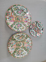 Chinese  PORCELAIN-Famille Rose Lot of 3 Plates