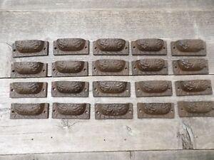 20 CAST IRON BROWN TOTAL LENGTH PULLS DRAWER CABINET BIN HANDLES RUSTIC BARN