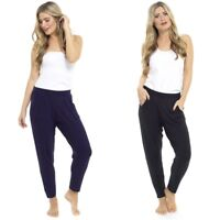 Ladies Harem Pants Womens Jersey Lounge Ali Baba Trousers Jogging Bottoms Pyjama