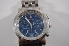 Michele Sport Sail Diamond Navy Blue Chronograph Stainless Steel Watch Silver