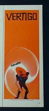 1958 VERTIGO HITCHCOCK MOVIE AD POSTER SAUL BASS DESIGN RARE 1/2 PAGE VERSION
