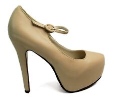 Womens Mary Jane High Heel Platform Stiletto Pumps Nude Size 7.5 Prom Shoes NEW
