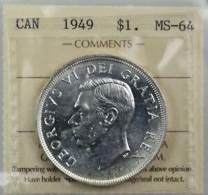 CANADA: King George VI 1949 Silver Dollar ; ICCS MS-64 Brilliant White.