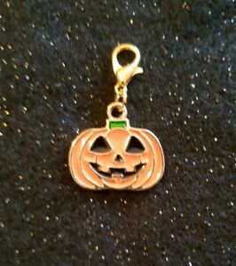 Halloween Pumpkin Shaped Enamel Collar Charm with lobster clasp for Cat & Kitten