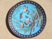 "Vintage 12"" Cloissone Charger Birds River Flowers Chinese Antique Original Rare"