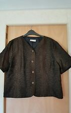 ladies wool blend black and brown short sleeve shortie jacket size 18