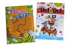 NEW Set of 2 Maze Craze and Dot to Dot Kids Coloring Book Activity Books Set