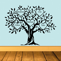 Personalised Family Tree Wall Art Vinyl Decal Sticker Home Decor 100cm