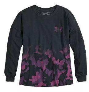 Under Armour Girls Camo Dip Tee MED 10-12 / LARGE 14 Black Purple Pink #26620