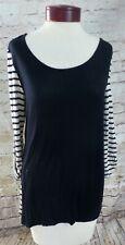 Charming Charlie Black & White Cream Striped Casual Shirt Women's Size Medium