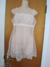 OOH LA LA VICTORIA SECRET White Sheer See-Thru Baby Doll LINGERIE TEDDY Sz Large