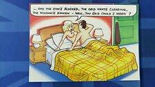 Risque Bamforth Comic Postcard 1980s Blonde Big Boobs Moaning In Bed Plumber