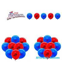 10 X Spiderman Latex Balloons. Super Hero Marvel Avenger Birthday Party Balloons