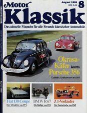 Motor Klassik 8/89 1989 BMW R67 Fiat 130 Coupé VW Käfer Okrasa Mercedes 230 W143