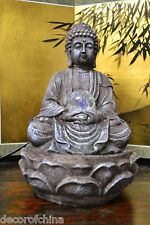 """Resin Sitting Buddha Figure Tabletop Indoor Water Fountain Home Decor 11.50""""H"""