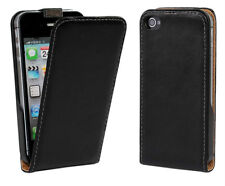 For iPhone 4 4S Black Genuine Real Leather Classic Style Case Cover Slim Design