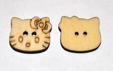 100 HELLO KITTY CAT SEWING CRAFT JEWELLERY WOODEN CHILDRENS BUTTONS - 20x22mm
