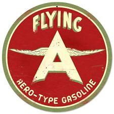"""Flying A Original Retro Gas Gasoline Tin Metal Sign Reproduction 14"""" diam"""