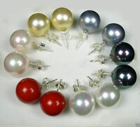 WHOLESALE 6 PAIRS 10MM SOUTH SEA SHELL PEARL 925 SILVER STUD EARRINGS