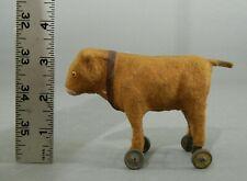 Antique German Putz MINIATURE Cow On Wheels PULL TOY