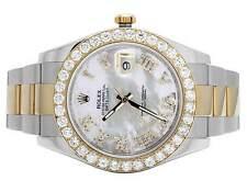 Mens Rolex Datejust II 18K/ Steel 116333 41MM Oyster Two Tone Diamond Watch 5 Ct