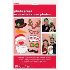 Navidad Cabina de Fotos Accesorios Diversión Decoraciones de Navidad Fiesta X 10