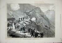 Original Old Antique Print 1877 War Wounded Turkish Siers Shipka Pass Mountains