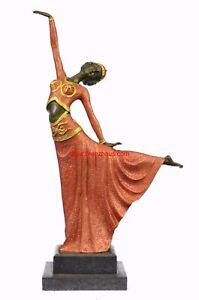 """Art Deco Flapper Dancer Bronze Sculpture by Demétre Chiparus 17"""" x 13"""" (Special"""