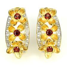 Ohrringe Halbcreole Granat Diamant 925 Silber 585 Gelbgold Weißgold