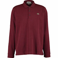 New Lacoste Men's Long Sleeve Polo Shirt Slim Fit  Size 8 3XL Bordeaux Red BNWT
