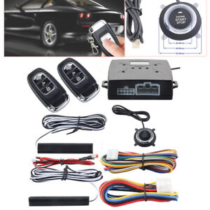 Universal PKE Car Alarm System Keyless Entry Push Button Remote Engine On/Off