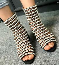 Womens Pearls Beads Sandals Hollow Ankle Boots Open Toe Mid Heel Shoes Roman T17