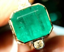 Art Deco Vintage Green 8.25 ct Emerald Sapphire Green Antique Wedding Ring HK-2