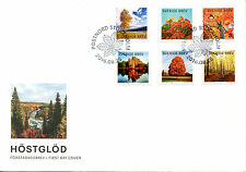 Sweden 2016 FDC Autumn Colours Glow Yellow Birch 6v Set Cover Trees Stamps
