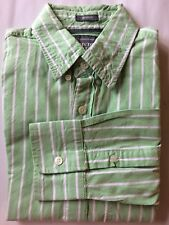 Abercrombie & Fitch Men Dress Shirt Muscle Fit Green White Stripe Long Sleeve Sm