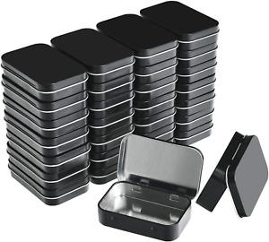 Metal Rectangular Empty Hinged Tins 30Pack Black Mini Portable Box Small Storage