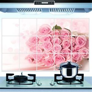 Pink Roses Kitchen Oil-proof Removable Wall Stickers Art Decor Home Decal 2124
