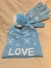 Faded Glory Girls' Cold Weather Beanie and Glove Set, Blue, One Size