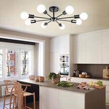 8-Lights Industrial Sputnik Chandelier Semi Flush Ceiling Light Fixture Black US
