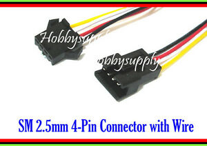 4-Pin SM JST 2.5mm male female connector housing plug 30cm wire cable part x 15