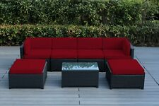 New - Outdoor Patio Wicker Furniture w/ Ottomans 7pc Set - RED - NO ASSEMBLY REQ