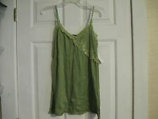knit top green fang 100% polyester large lace