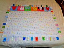 Baby Foot Prints Tummy Time Play Mat Tag Ribbon Fidget Blanket Sensory 53 X 73
