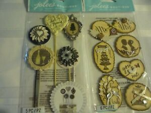 2 PACKS BY JOLEE'S . WOODEN SILHOUTTE WEDDING ICONS AND  SILHOUTTE STICKS