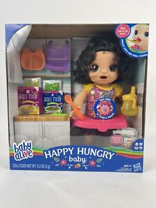 Baby Alive Happy Hungry Baby Black Straight Hair Doll, Makes 50+ Sounds & Phrase