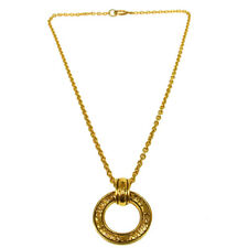 Authentic CHANEL Vintage CC Logos Gold Chain Pendant Necklace France V22460